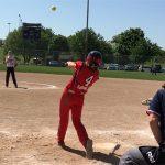 Beth hitting softball