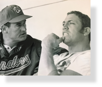 Ted Williams and Mike Epstein in Washington Senators dugout